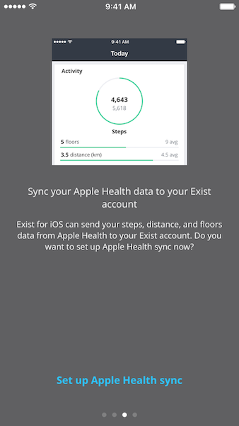 Exist for iOS Apple Health set-up screen