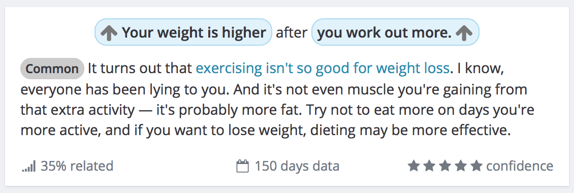 Weight correlation in Exist