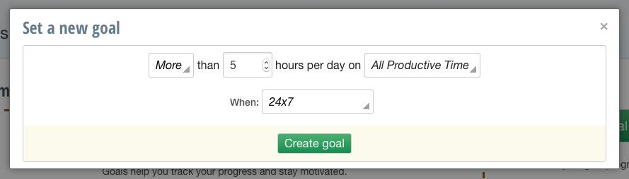 Setting a goal in RescueTime