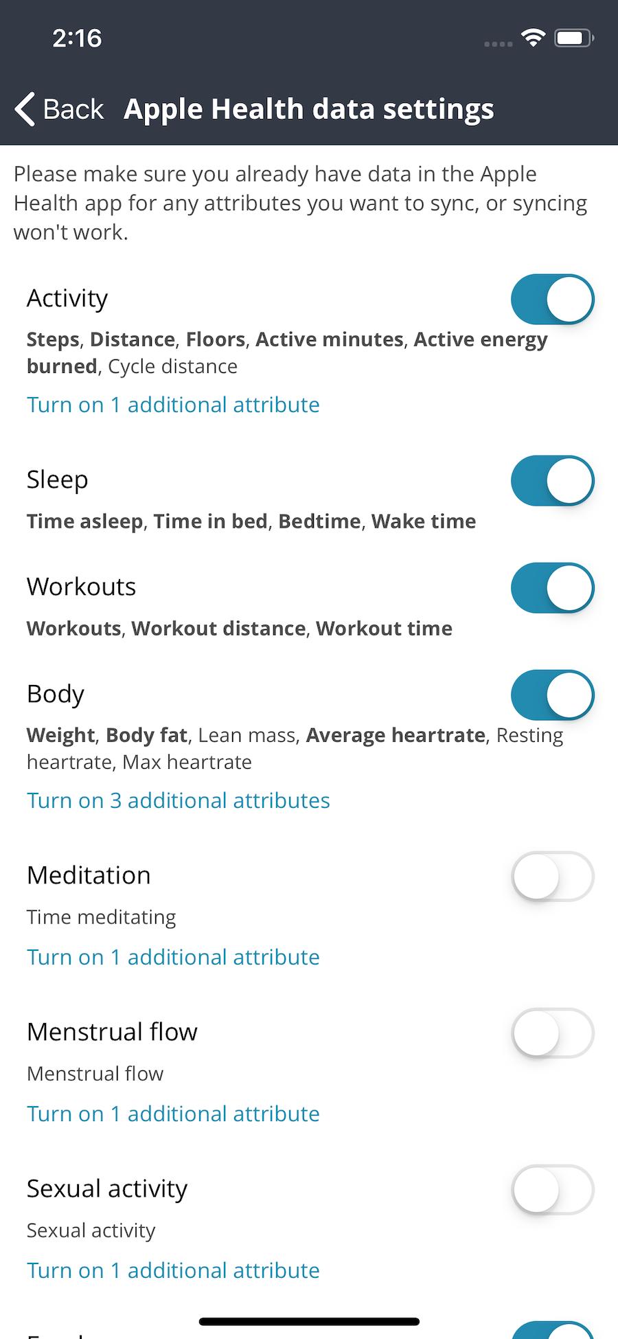 Apple Health settings screen
