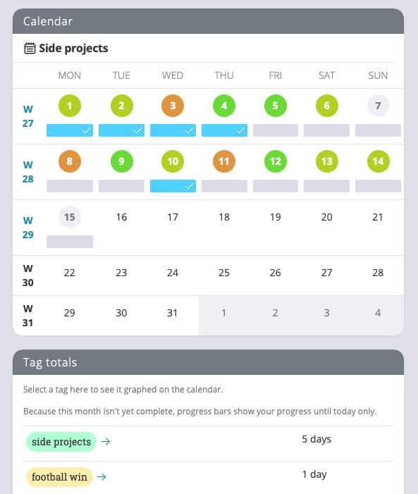 Exist month view calendar