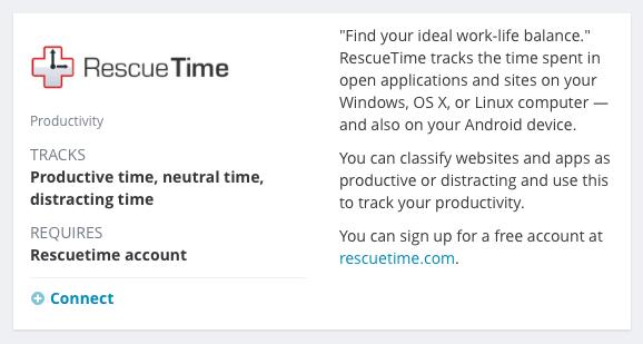 RescueTime service tile